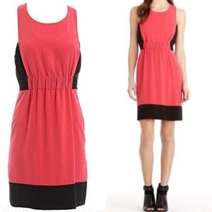 Rachel Roy Coral Color Block Fit and Flare Dress